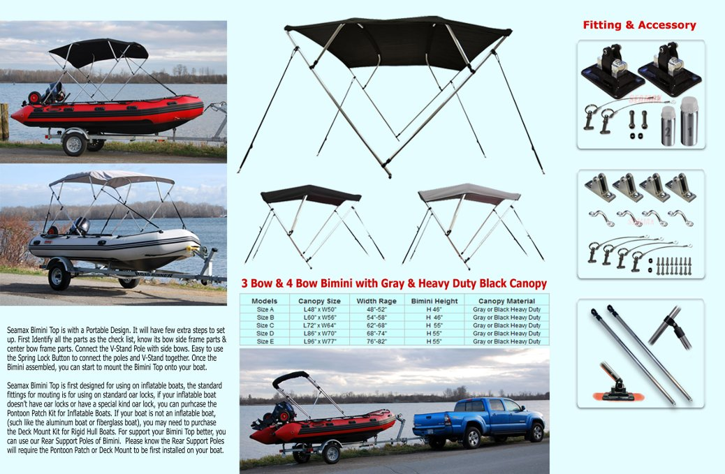 """full web4 - Size B Bimini Top for 9-11ft Boats, 3 Bow Style, Width 56"""""""