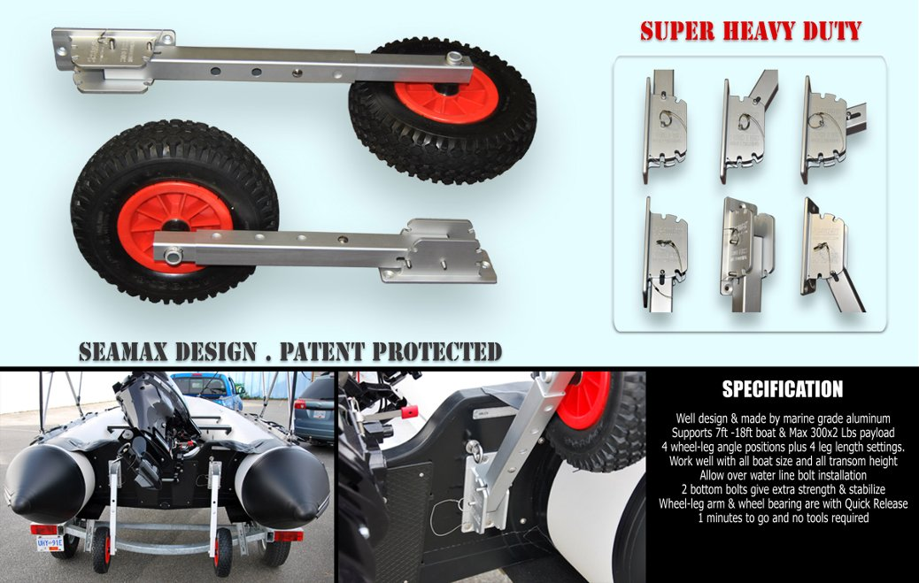 """full web6 - Deluxe 4x4 Boat Launching Dolly with 12"""" Wheels"""